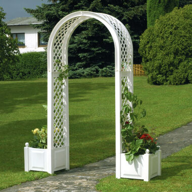 Rose arch with planter boxes
