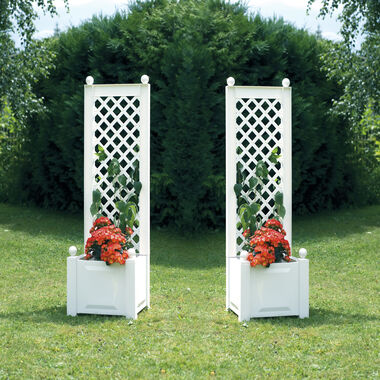 Set of 2 small planter boxes with trellis, 43 cm