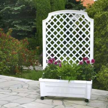 "Planter box ""Calypso"" with watering system, trellis and wheels"