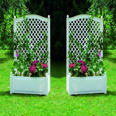 Set of 2 large planter boxes with trellis, 100 cm